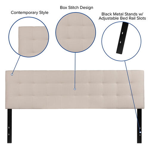 Flash Furniture - Bedford Tufted Upholstered King Size Headboard in Beige Fabric