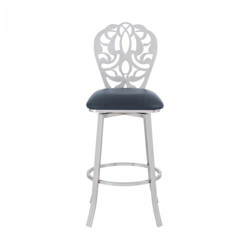 "Cherie Contemporary 30"" Bar Height Barstool in Brushed Stainless Steel Finish and Grey Faux Leather"