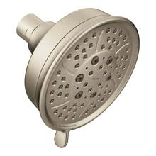 "brushed nickel four-function 4-3/8"" diameter spray head eco-performance showerhead"