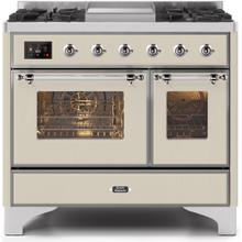 Majestic II 40 Inch Dual Fuel Natural Gas Freestanding Range in Antique White with Chrome Trim