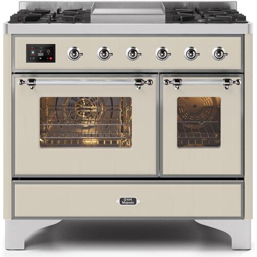 Ilve - Majestic II 40 Inch Dual Fuel Natural Gas Freestanding Range in Antique White with Chrome Trim