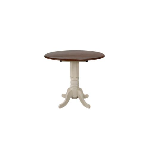 Round Drop Leaf Pub Table - Antique White with Chestnut Top