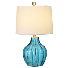 Translucent Blue Ribbed Table Lamp with Texture with Bulb. 60W Max.(161116) (2 pc. assortment)
