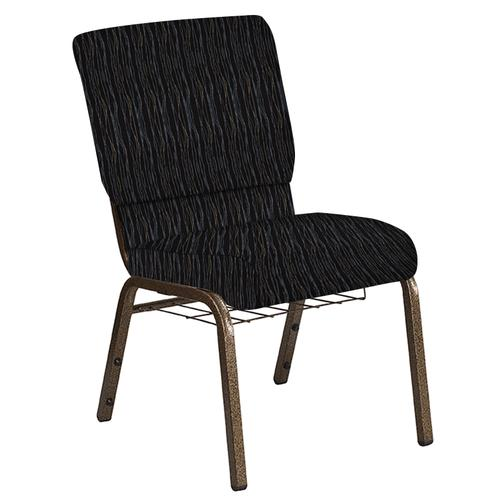Flash Furniture - 18.5''W Church Chair in Mystery Ebony Fabric with Book Rack - Gold Vein Frame