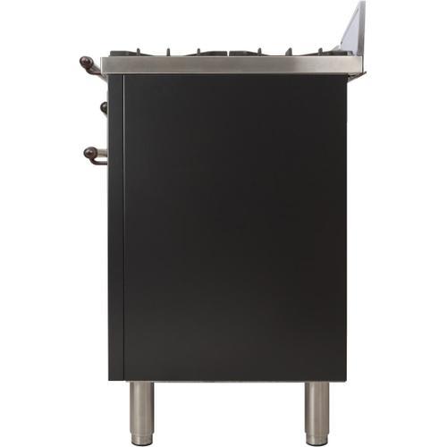 Nostalgie 30 Inch Gas Natural Gas Freestanding Range in Glossy Black with Bronze Trim