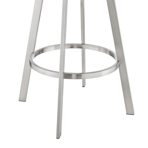 """Nikole 30"""" Gray Faux Leather and Brushed Stainless Steel Finish Swivel Bar Stool with Black Wood Back"""