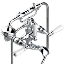 View Product - Exposed tub filler with cradle handshower, wall mounted