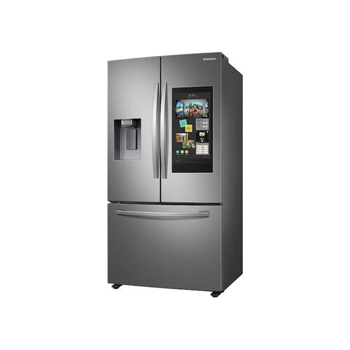 Samsung - 26.5 cu. ft. Large Capacity 3-Door French Door Refrigerator with Family Hub™ and External Water & Ice Dispenser in Stainless Steel