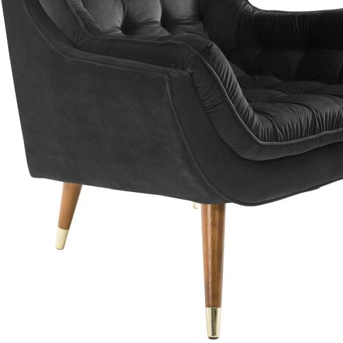 Suggest Button Tufted Performance Velvet Lounge Chair in Black