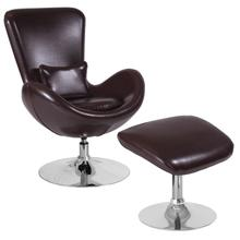 See Details - Egg Series Brown LeatherSoft Side Reception Chair with Ottoman