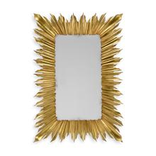 Gilded rectangular sunburst mirror