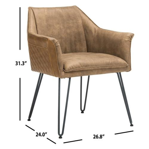 Esme 19 Inch H Mid Century Modern Leather Dining Chair - Brown