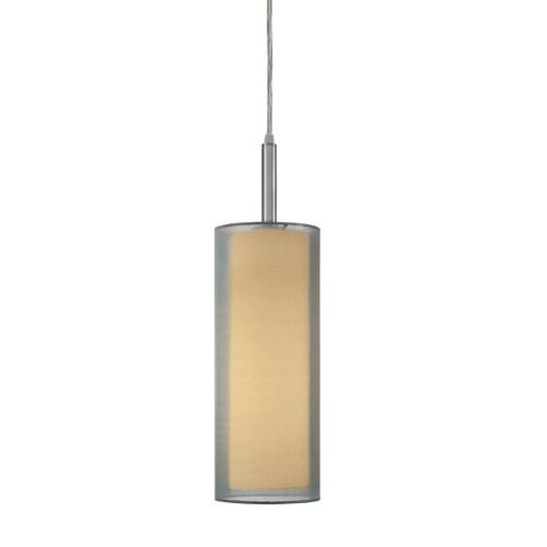 """Sonneman - A Way of Light - Puri Cylinder Pendant [Size=5"""", Color/Finish=Satin Nickel w/Silver Shade]"""