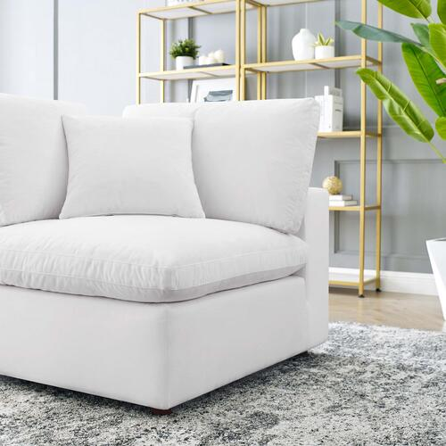 Commix Down Filled Overstuffed Performance Velvet Corner Chair in White