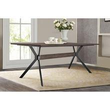 Nevada Rustic Oak Wood Trestle Base Dining Table In Dark Brown