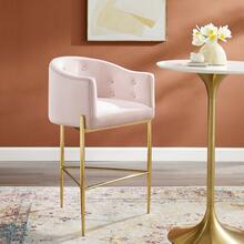 Savour Tufted Performance Velvet Bar Stool in Pink