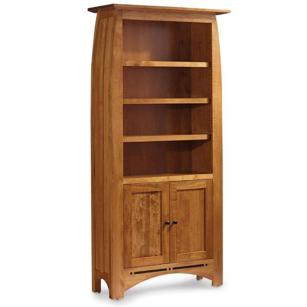 See Details - Aspen Tall Bookcase with Wood Doors on Bottom and Inlay, 4 Shelves
