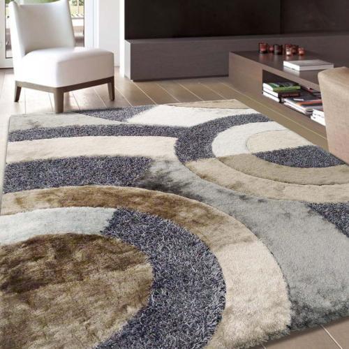 "Designer Shag S.V.D. 27 Area Rug by Rug Factory Plus - 4' x 5'4"" / Earth"