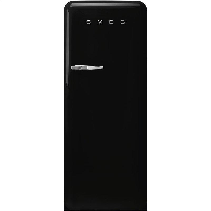 "24"" retro-style fridge, Black, Right-hand hinge"