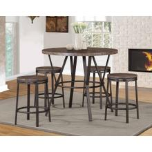 7877 BROWN 5PC Metal Counter Height SET
