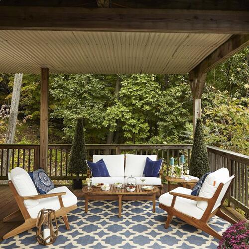 Saratoga 4 Piece Outdoor Patio Teak Set in Natural White