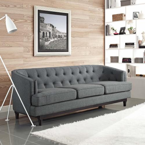 Modway - Coast Upholstered Fabric Sofa in Gray