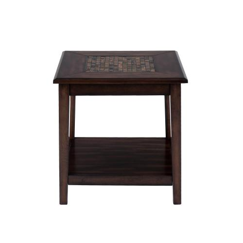 Jofran - Baroque Brown End Table With Mosaid Tile Inlay