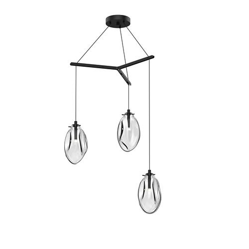 Sonneman - A Way of Light - Liquid LED Pendant [Size=3-Light Standard, Color/Finish=Satin Black w/Clear Glass, Shape=Tri-Spreader]
