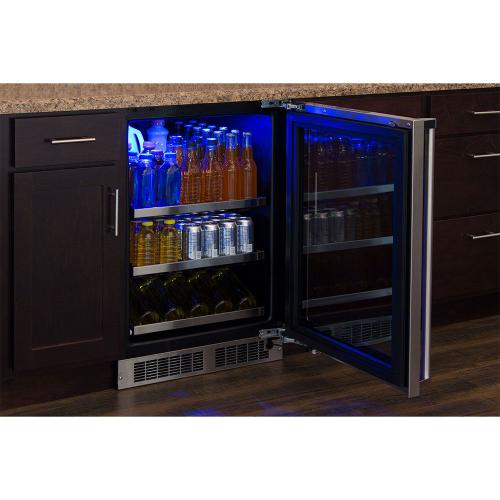 Marvel - 24-In Professional Built-In Beverage Center with Door Style - Stainless Steel Frame Glass, Door Swing - Right
