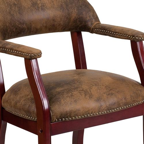 Gallery - Bomber Jacket Brown Luxurious Conference Chair with Accent Nail Trim
