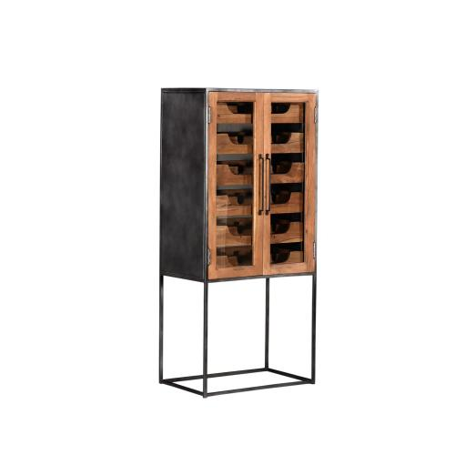 Bengal Manor Tall Glass and Metal Wine Cabinet