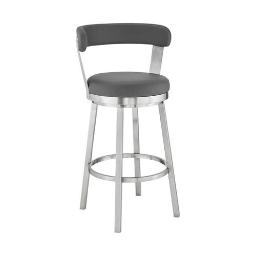 """Bryant 30"""" Gray Faux Leather and Brushed Stainless Steel Swivel Bar Stool"""