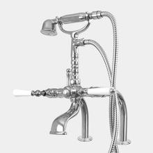 Butler Mill Deck Mount Telephone Tub Filler and Handshower Set with Straight Legs shown with Orleans handles