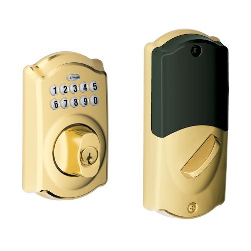 Schlage - Camelot Style Connected Keypad Deadbolt and Handleset with Accent Lever