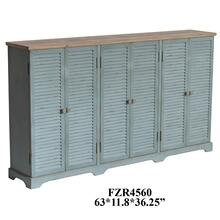 Clearwater 6 Louvered Door Sea Wash Sideboard with Wood Top