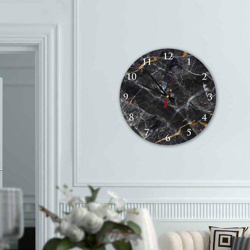 Grako Design - Black Marble Round Square Acrylic Wall Clock
