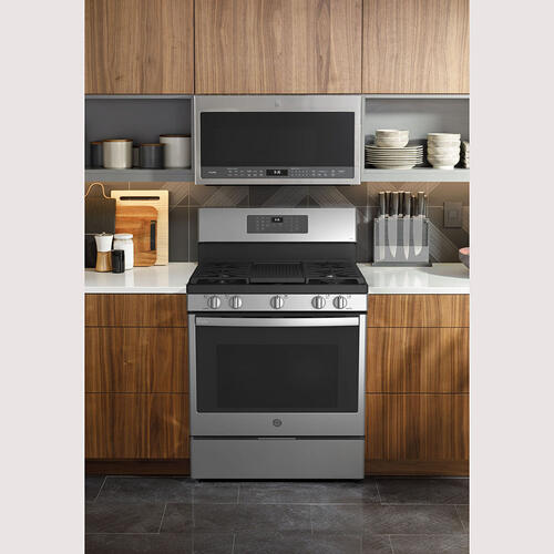 """Gallery - GE Profile 30"""" Freestanding Dual-Fuel with Storage Drawer Stainless Steel - PC2B935YPFS"""