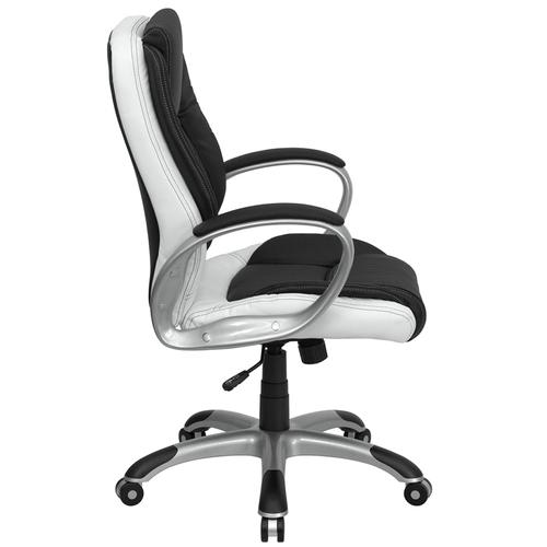 Gallery - Mid-Back Black and White LeatherSoft Executive Swivel Office Chair with Arms