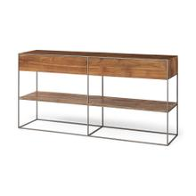 See Details - Morris I 63x15 Brown Wood and Silver Metal Frame Two Drawer Sideboard