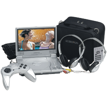 8 inch slim line portable DVD player package with game controller