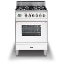 Professional Plus 24 Inch Gas Natural Gas Freestanding Range in White with Chrome Trim