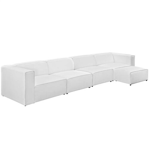 Modway - Mingle 5 Piece Upholstered Fabric Sectional Sofa Set in White