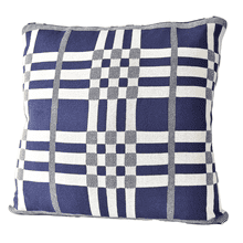 Blue & White Plaid Knit Pillow
