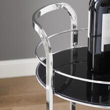 Tempered Glass Shelves and 4-wheel Bar Cart, Black and Chrome