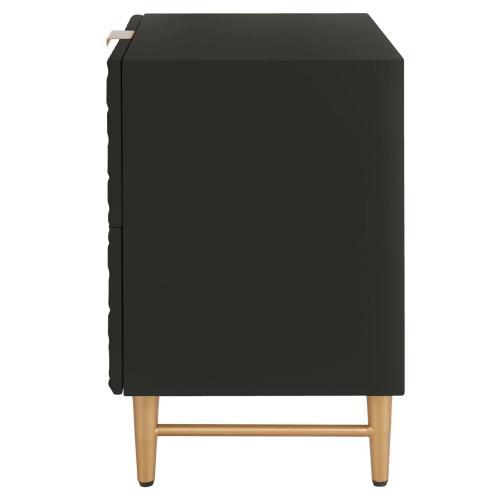 Reggie KD Geometric Side Table 2 Drawers Gold Legs, Glossy Black