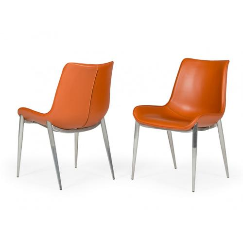 Modrest Holt - Modern Cognac Eco-Leather Dining Chair (Set of 2)