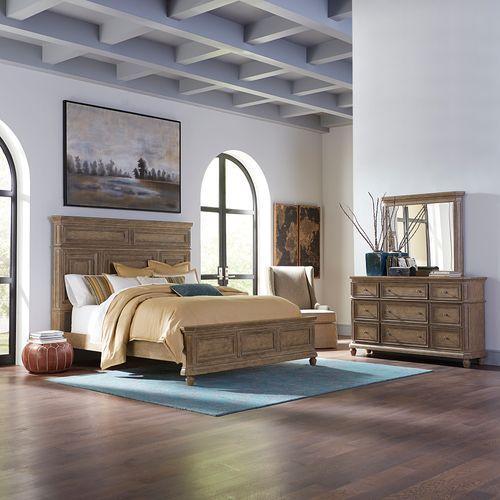 Liberty Furniture Industries - King Panel Bed, Dresser & Mirror