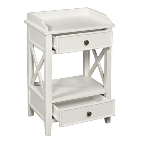 Two Drawer X Side End Table in Country White