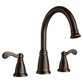 Traditional mediterranean bronze two-handle roman tub faucet