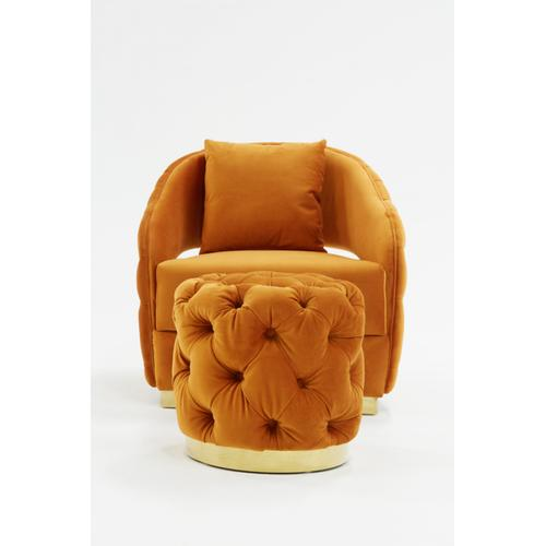 Divani Casa Duarte Modern Orange Velvet Accent Chair